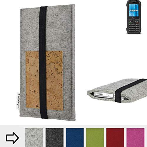 flat.design Handy Hülle Sintra für Energizer H240S maßgefertigte Handytasche Filz Tasche Schutz Case Kartenfach Kork