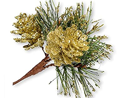 Pack 12 Gold Glittered Pine Fir Cone Pick for Christmas Decorations