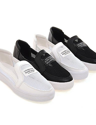 ZQ gyht Scarpe Donna-Mocassini-Ufficio e lavoro / Formale / Casual-Comoda-Plateau-Tulle / Finta pelle-Nero / Bianco , white-us8 / eu39 / uk6 / cn39 , white-us8 / eu39 / uk6 / cn39 black-us6.5-7 / eu37 / uk4.5-5 / cn37