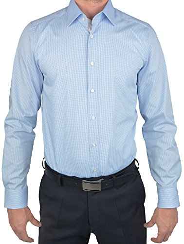 OLYMP Herren Hemd 'Level Five Body Fit' Langarm, Gr.-40,KH Karos hellblau - Ägyptische Baumwolle Shirt