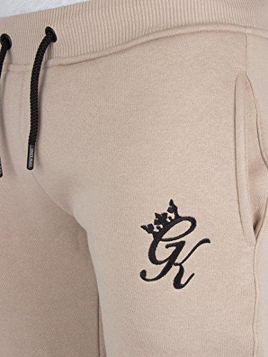 Gym King Uomo Vello Joggers Logo di fondo, Beige Beige