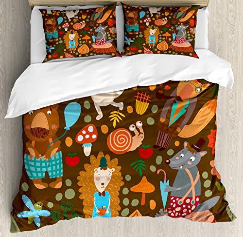 ABAKUHAUS Igel Bettbezug Set Doppelbett, Waschbär und Schmetterling, Kuscheligform Top Qualität 3 Teiligen Bettbezug mit 2 Kissenbezüge, ()