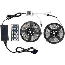 WenTop Tira Led no Impermeable,RGB LED Strip 10m 5050 SMD Cinta LED (30leds/m) + 44 Control Remoto Clave + Fuente de Alimentación+ Receptor para Casa, cocina, garaje