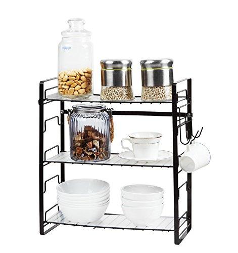 Gewürzregal Einstellbar Küche Hängeregal Oder Standregal 39 x 18 x 42cm(3 Ablagen - Frei zu montieren, Schwarz)