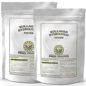 Kollagen 1kg (2x 500g) – Hydrolysat   100% Reines Pulver   Collagen für Gelenke, Knorpel, Haut & Nägel ( Gelenkschutz )   im wiederverschließbarem Frischebeutel