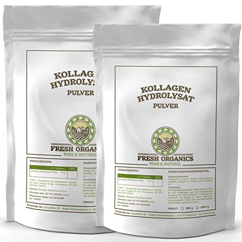 1000g / 1kg (2x 500g) Kollagen - Hydrolysat | 100% Reines Pulver | Collagen für Gelenke, Knorpel, Haut & Nägel ( Gelenkschutz ) | im widerverschließbaren Frischebeutel