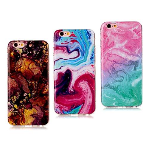 iPhone 6 Coque (Marbre), iPhone 6s Coque Transparente Silicone en Gel Tpu Souple, Housse Etui Coque de Protection avec Absorption de Choc et Anti-Scratch OUJD - Or noir, arbres couleur de route, fumée Multicolore+marron+vert rosé