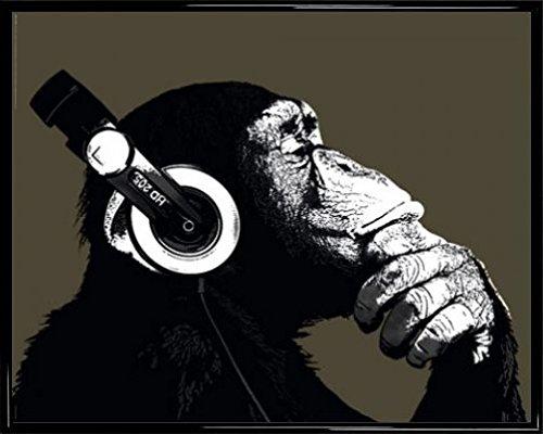 1art1 Affen Mini-Poster und Kunststoff-Rahmen - Schimpanse Mit Kopfhörer (50 x 40cm)