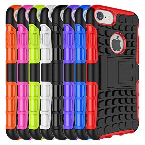 iPhone 7 Shockproof Case misvoice, design With Build in kickstand Premium Quality Heavy Duty Shock Proof Armour Dual Protection Defender ibrida Hard Back Case Cover Shock Drop Bumper Impact Resistance nero/lilla