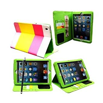 MobileExtraLtd® Apple Ipad Mini New Primium Quality PU Leather Magnetic Wallet Flip Case Cover+Stylus (Hybrid Pink & Yellow)