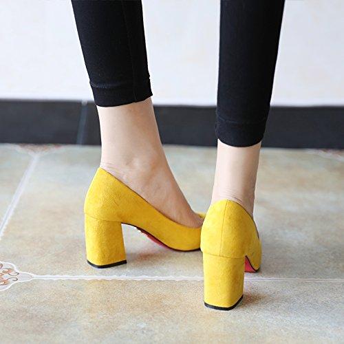 FLYRCX Moda Top suede tacco alto scarpe donna primavera e autunno scarpe da lavoro black
