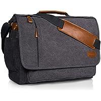 Estarer Umhängetasche/Laptoptasche 14/15.6-17/17.3 Zoll für Arbeit Uni aus Canvas Grau