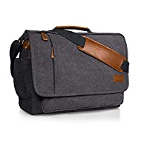 Estarer Mens 15.6 inch Laptop Bag Canvas Messenger Bag Work Shoulder Bag Grey