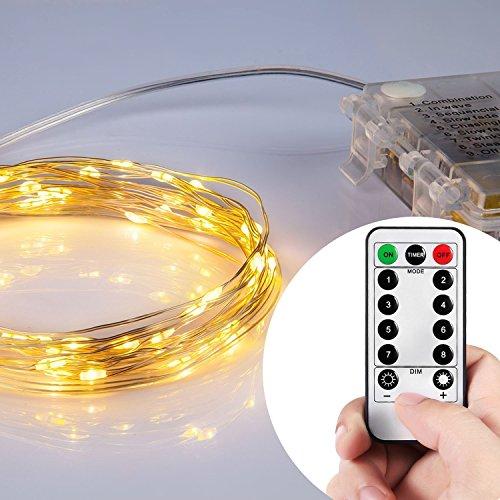 Eplze Fonctionnant sur Batterie 10M 33ft 100 LEDs Starry Fil de Cuivre Lumière Cordes LED avec Télécommande pour Bar, Vitrine, Concert, Plantes, Art Projects, etc. (Blanc Chaud)