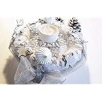 Adventskranz Weiß Silber Handarbeit Einzelstück Hirsche Adventsdeko Weihnachtsdeko
