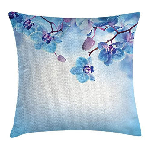ZTLKFL Flower Decor Throw Pillow Cushion Cover, Orchids Asian Natural Flowers Reflections on Water for Spring Calming Art, Decorative Square Accent Pillow Case, 18 X 18 Inches, Blue and Purple International Silver Orchid