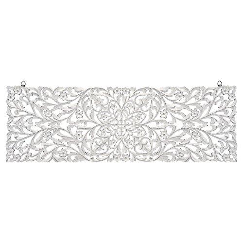 miaVILLA Wanddeko Himalaya - Ornament - Holz - Weiß - ca. B123 x H43 cm