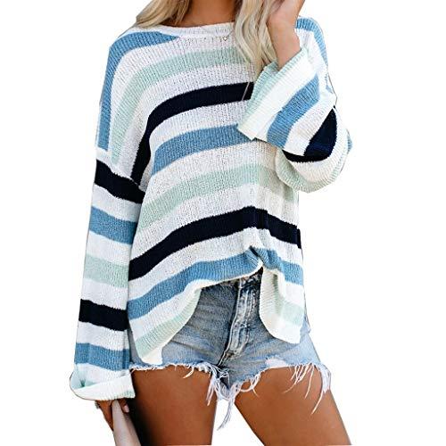 RYTEJFES Damen Rundhals Strickpullover Color Block gestreifte Pullover Kariert Mode Sweater Gestrickte Sweatshirt Sport Lose Tunika -