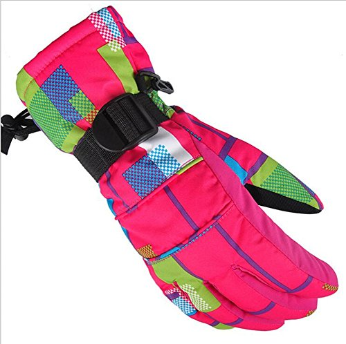 Qiu Ping Damen und Herren Winddicht Wasserdicht Winter Outdoor Ausreit Kalt Dick Warm Handschuhe, Rose Red Square, S