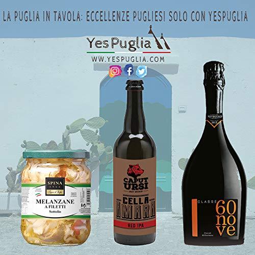 """Pacco yespuglia 4 prodotti – 2 birra artigianale ipa """"birrificio caput ursi"""" 0.33 ml, melanzane a filetti sottolio """"spina"""" 520 gr, couvÈe millesimato spumante """"risveglio agricolo"""" 750ml"""