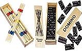 2 er SET ( 2 Stück ) Spielesammlung aus Holz ( Domino und Mikado ) mit praktischem Schiebedeckel und Spielanleitung