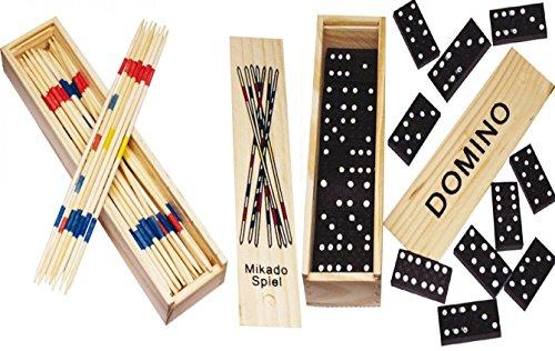 2 er SET ( 2 Stück ) Spielesammlung aus Holz ( Domino und Mikado ) mit praktischem Schiebedeckel und Spielanleitung (Holz Domino Set)