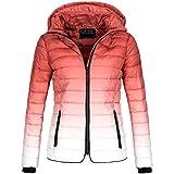 Rock Angel Damen Steppjacke Winter Jacke Parka Winterjacke warm DipDye 44366 S-XL, Größe:M - 38;Farbe:Rot
