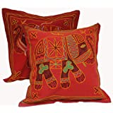 2 Red Handcrafted Embroidered Ethnic Indian Elephant Throws Pillow Cases Cushion Covers