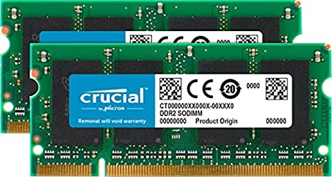 Crucial 4GB Kit (2GBx2) DDR2 667MHz (PC2-5300) SODIMM 200-Pin Memory for Mac - (Ddr2 Sistema)