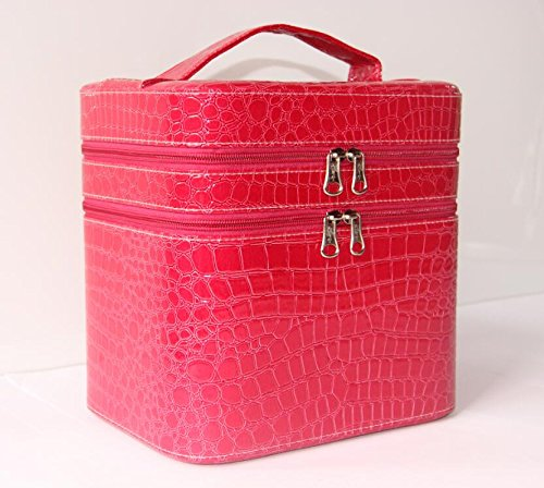 hoyofo-large-double-layer-beauty-makeup-box-sturdy-leather-cosmetic-storage-casesrose-red