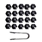 20tapones hexagonales, 19 mm protección para tuerca de rueda VW Volkswagen (herramienta de desmontaje incluida)