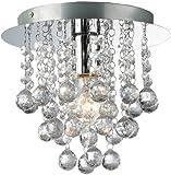 Palazzo 1 Light Round Polished Chrome Flush Crystal Acrylic