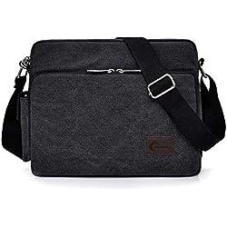 Messenger Bag, CHEREEKI Unisexe Vintage Canvas Messenger Sacs Casual Sling Epaule Pack Daypack Satchel Sac pour Le Travail, Ecole, Usage Quotidien - 30cm (L) x 10cm (W) x 26cm (H), 26 Poches (Noir)