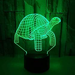 Illusion optique 3D Tortue Nuit Lampe Art Déco Lampe Lumières LED Décoration Lampes Touch Control 7 Couleurs Change Veilleuse USB Powered Enfants Cadeau Anniversaire Noël Cadeaux