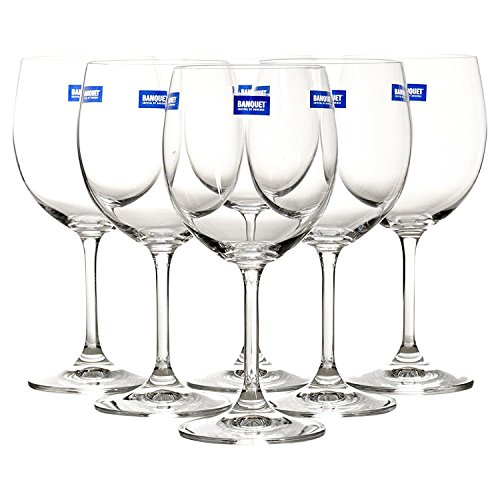 Bohemia cristal juego de 6copas de tallo de vino blanco 240ml Claro vidrio templado llantas champán fiesta regalo