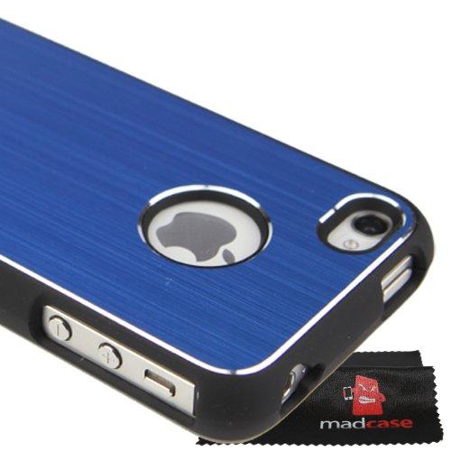 MadCase Apple iPhone 4S / 4 Aluminium Metalle Elegante Pro Case Etui Hülle case mit schwarzen bumper - dunkelblau - Dunkelblau