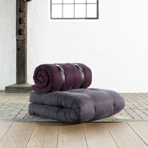 Futon Sessel Buckle up in Grau/Brombeer, Maße B/H/T ca. 70/24-68/95-200 cm