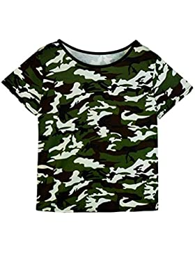 Blusa, Oyedens Las mujeres de la manera ponen en cortocircuito la camiseta ocasional del camuflaje del verano...
