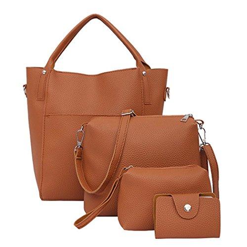 ESAILQ Femmes 4PCS Set Sac à main quatre sacs d'épaule Sac fourre-tout à bandoulière Porte-monnaie