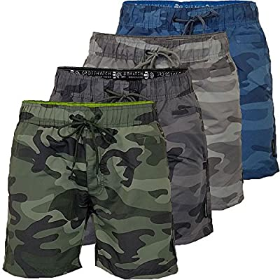 CS Branded Mens Crosshatch Army Camo Swim Shorts Camouflage Quick Dry Knee Length Summer