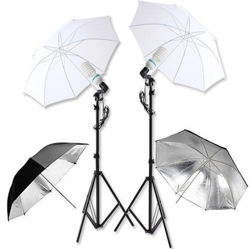 PMS® Hintergrundsystem Fotostudio Foto Zubehör Fotolampe Stativ Schwarz/Silber weiss Reflexschirm Studioschirm Komplett Set