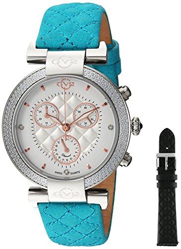GV2by Gevril berletta Chrono–Cronógrafo con diamantes correa de piel color verde reloj de cuarzo swiss, (modelo: 1555)