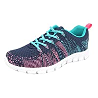 Womens Ladies Lightweight Colourful Shoes Lace Up Mesh Trainers Memory Foam Size 3 4 5 6 7 8