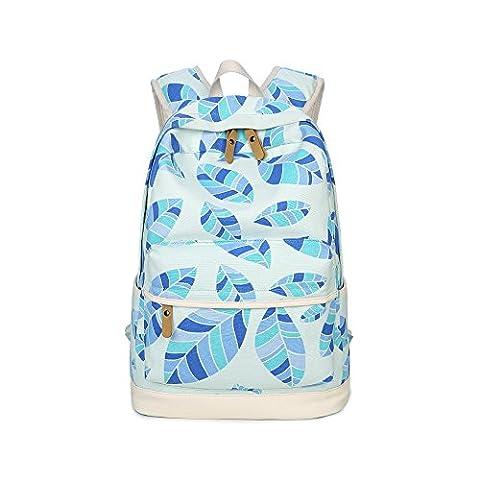 Evay Vintage Style coloré Print loisirs sac à dos bleu Maple Leaf Pattern School pour femmes hommes toile étanche et sac à dos Casual en cuir PU détient à dos pour ordinateur portable de 14 pouces