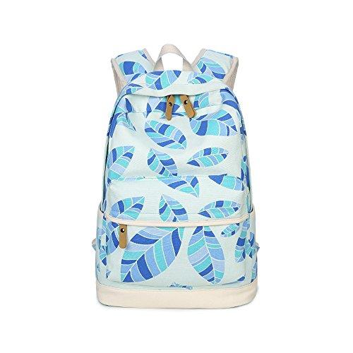 Evay Vintage Stil Bunte Drucken Vintage Rucksack Blau Ahornblatt Muster Schule Tasche für Damen Herren Wasserdicht Canvas und PU Leder Casual Daypack hält 14 Zoll Laptop Rucksack (Schule Lightweight Rucksack)
