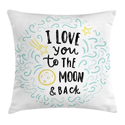 Sweet Dreams Eye Pillow (I Love You Throw Pillow Cushion Cover, Cartoon Style Sweet Dreams Children Sibling Love Friends Baby Kids Theme, Decorative Square Accent Pillow Case, 18 X 18 inches, Mint Grey Yellow)