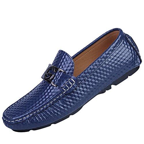 ICEGREY Herren Slipper Fahren Freizeitschuhe Mokassin Mode LederLoafer Schuhe Blau