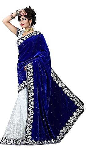 Desney Fashion Velvet & Net Saree (d-Blue velevt 1_Blue_Free Size)