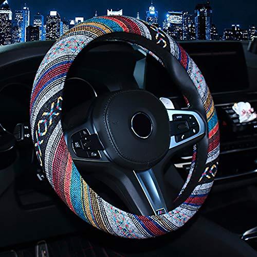 Bwkrjb copertura del volante in stile etnico,copertura del volante automobilistica in tessuto di lino grezzo copertura antiscivolo e assorbimento del sudore