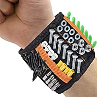 Magnetic Wristband, DIAOCARE Magnetic Tool Belt Tool Wristband with 2 Small Pockets,15-Powerful Magnets Adjustable Velcro Magnetic Screws Wristband for Holding Small Tools,Screws,Drills,Nails